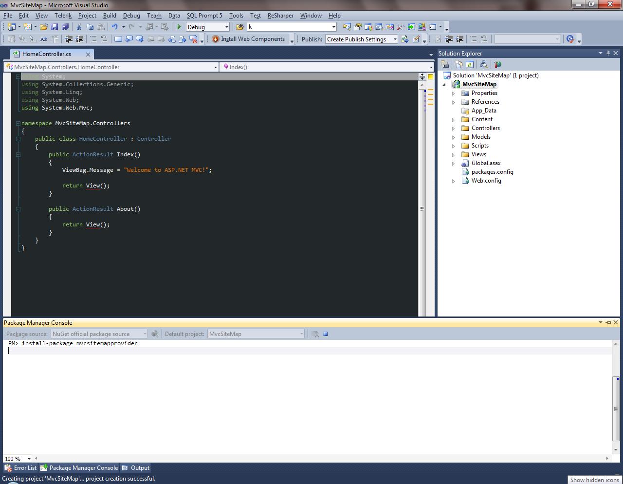 using mvcsitemap for generating website breadcrumbs part 1