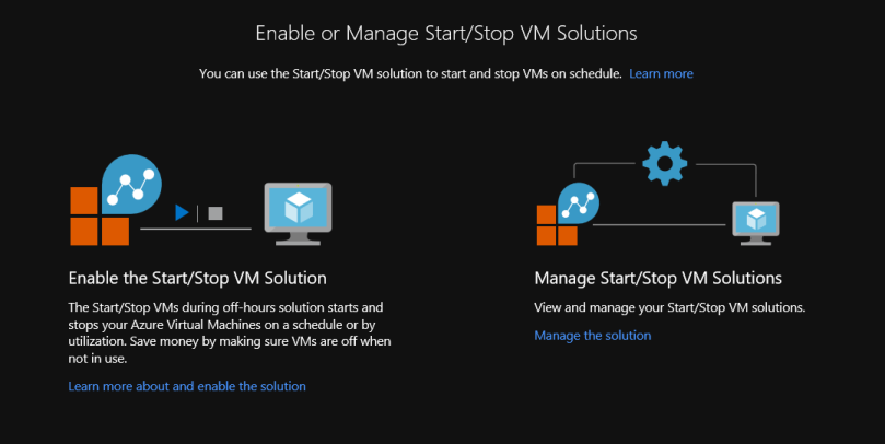 Automation Accounts and Start/Stop VM Solutions in Azure